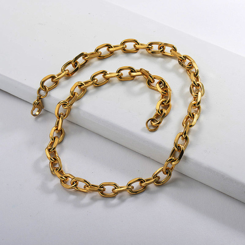 Trendy Gold Pure Metal Irregular Oval Statement Chain Necklace