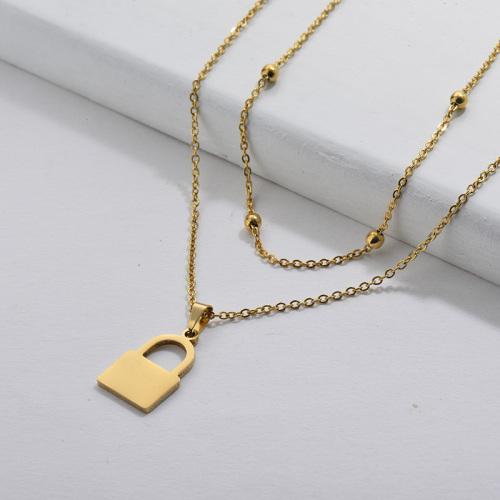 Cadena de cuentas dobles con colgante de bloqueo de oro simple para mujer