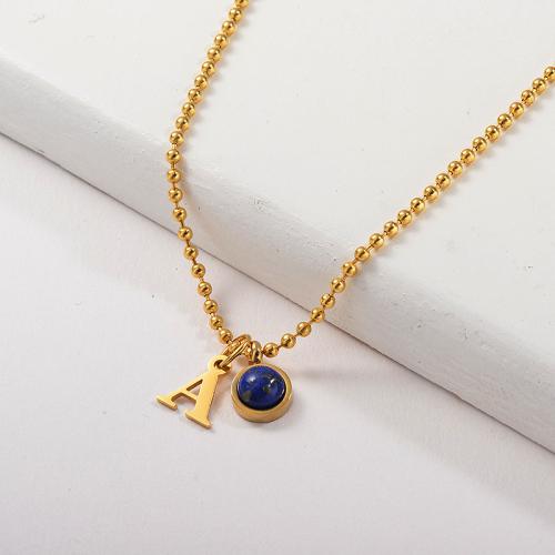 Collier en or lettre A avec breloque turquoise pour femme