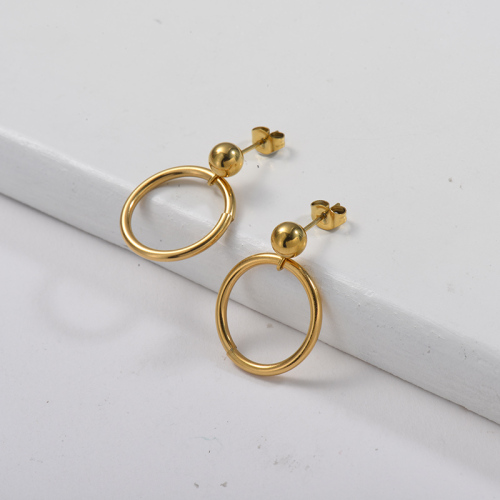 Gold Plating Drop Earring with Hoop Metal Style