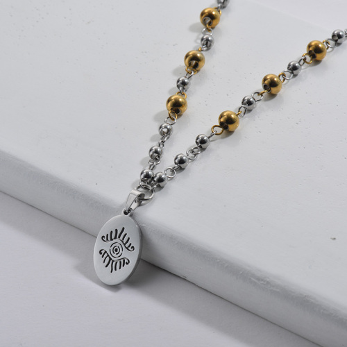 Stainless Steel Lucky Evil Eye Beads Chains Necklace For Women