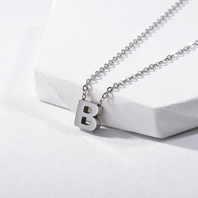 Cute Silver Letter B Initial Charm Necklace For Girls