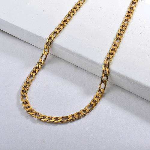 Collar de hombre grueso con cadena de eslabones Figaro de oro de 60 CM