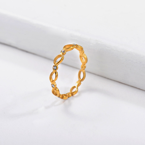 Wholesale Stainless Steel Famous Brand Gold Simple Zircon Crystal Bridal Ring