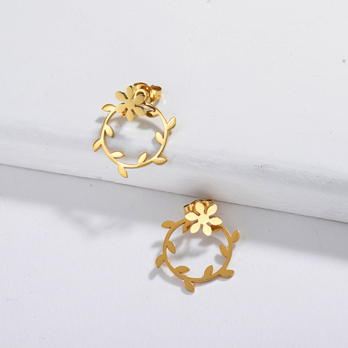 Gold Plated Jewelry  Stainless Steel Wreath Earrings