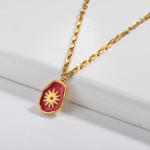 Red Irregular Oval Pendant Square Link Chain Necklace