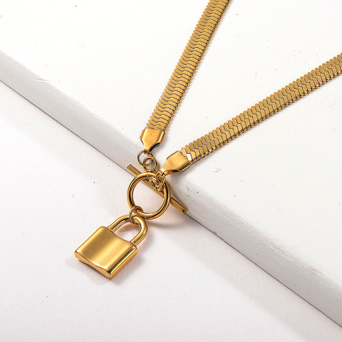 Fashion Gold Plated Padlock Pendant OT Clasp Snake Chain Necklace