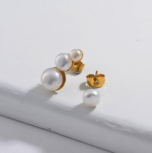 Gold Plated Jewelry  Stainless Steel  Pearl Earrings Set