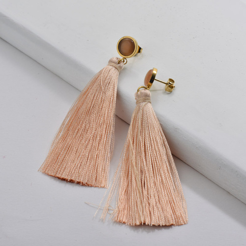 Gold Tassel Earring Nude Tassel with Rose Opal