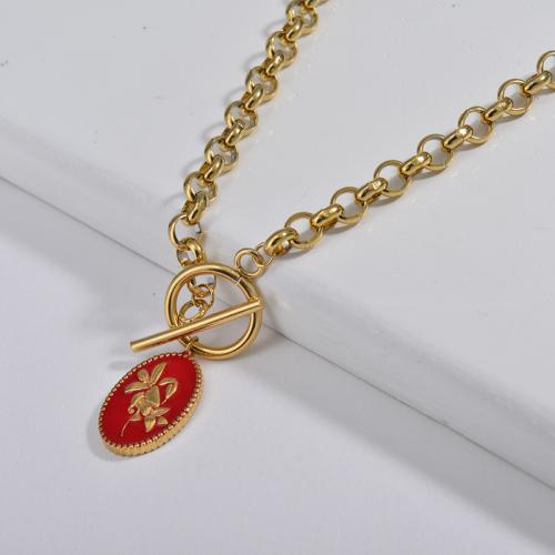 Collar de cadena de eslabones redondos con cierre OT de esmalte rojo lirio ovalado de moda para damas