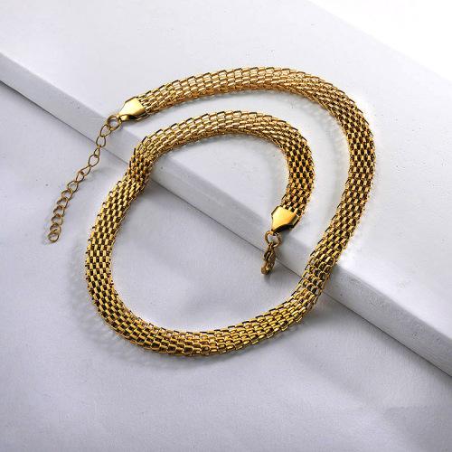 Elegante collar de cadena de eslabones de cinturón de acero inoxidable dorado para damas