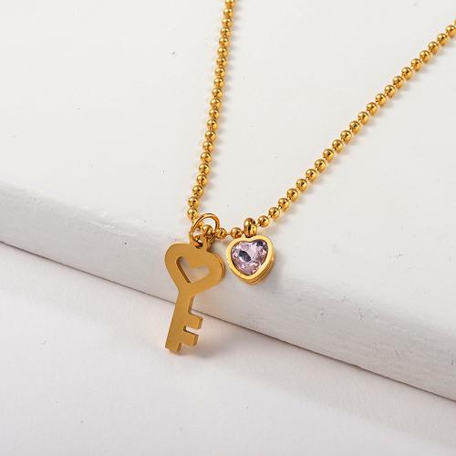 Clé en or à la mode avec collier à breloque coeur en cristal rose