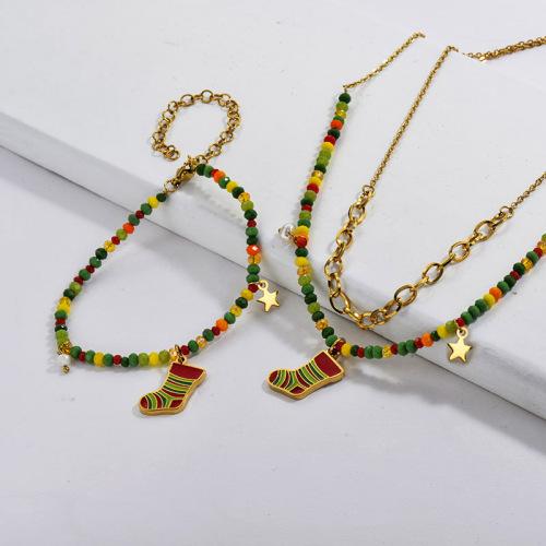 Conjuntos de pendientes de collar de calcetín de cuentas de Navidad de oro de acero inoxidable