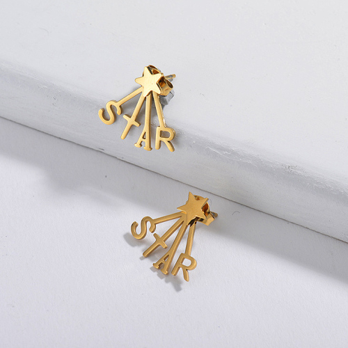 Gold Plated Jewelry  Stainless Steel  Star Earrings