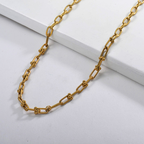 Fashion  Gold Plating U Shaped Oval Geometry Chain Link Necklace