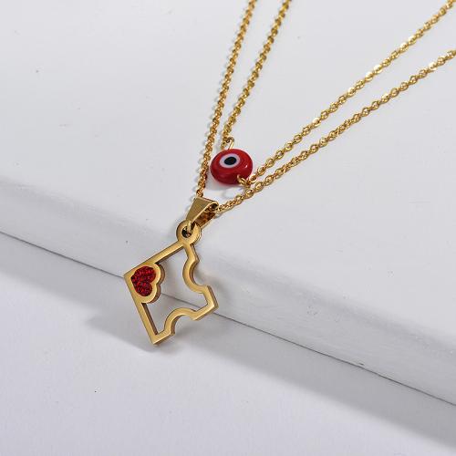 Collar de cadena de capa de ojo malvado rojo con colgante de rompecabezas dorado