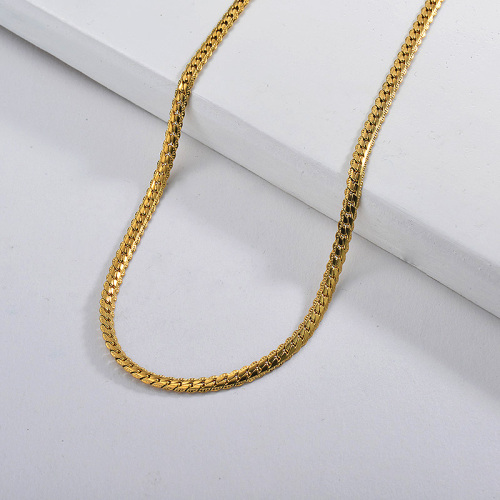 55CM Gold Plating Long Chain Link Women Necklace