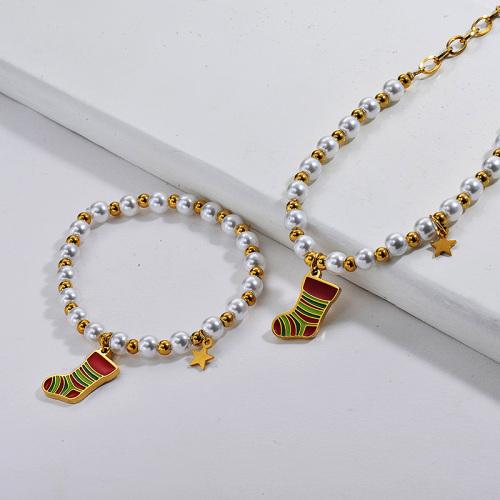 Conjuntos de pendientes de collar de calcetín de perlas de Navidad de oro de acero inoxidable