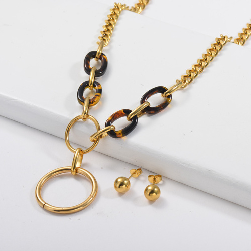 Fashion Leopard Oval Charm With Metal Circle Curb Link Chain Necklace