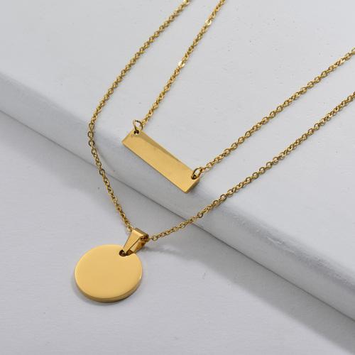Collar colgante de geometría redonda personalizada con cadenas dobles para mujer