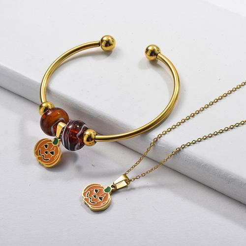 Conjunto de joyas de brazalete de collar de calabaza de Navidad chapado en oro de acero inoxidable al por mayor
