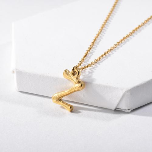 Collar Con Inicial Letra Z Chapado En Oro