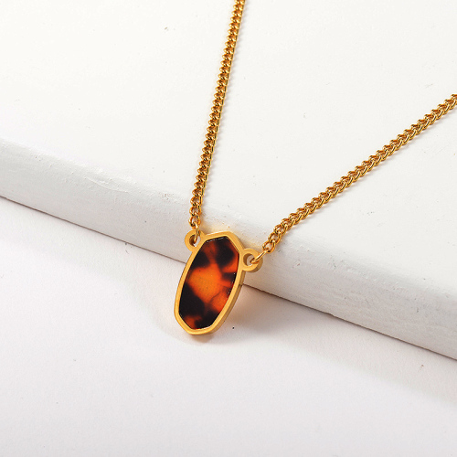 Fashion Gold Irregular Oval Leopard Pendant Necklace