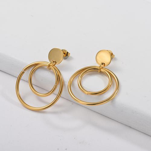Pendiente colgante chapado en oro con doble aro de oro