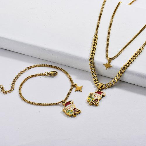 Collar de cadena chapado en oro de acero inoxidable, pendiente, conjunto de Papá Noel