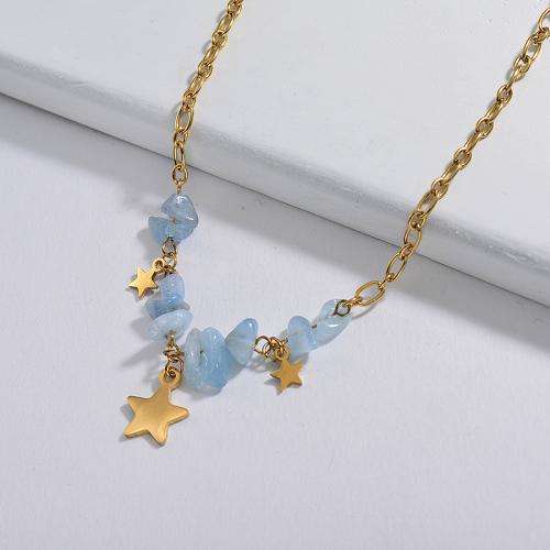 Collier en pierre naturelle bleue irrégulière avec breloque étoile