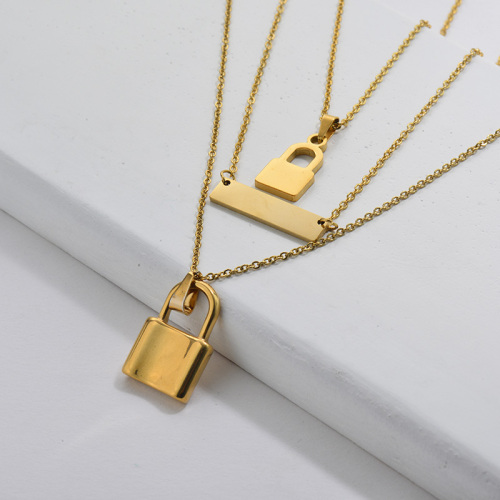 Fashion Gold Plating Padlock Multilayer Necklace For Women