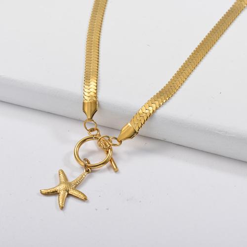Collar de cadena de serpiente con cierre OT de estrella de mar dorada