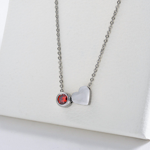 New Design Silver Heart Charm With Red Gemstone Necklace For Woman