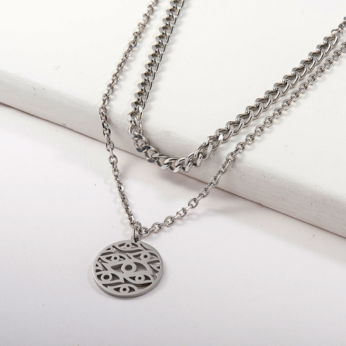 Silver Hollow Evil Eye Round Pendant Layer Chain Necklace