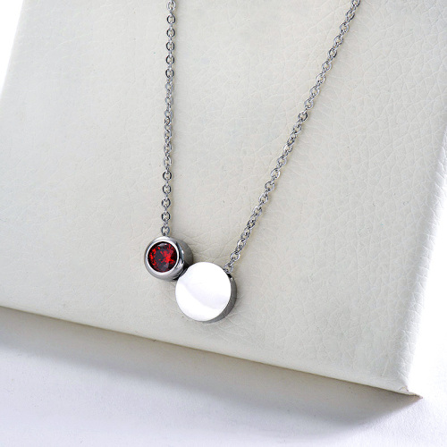Simple Stainless Steel Silver Round Geometry With Zircon Charm Necklace