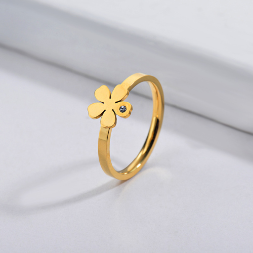 Wholesale Stainless Steel Famous Brand Gold Simple Flower Bridal Ring