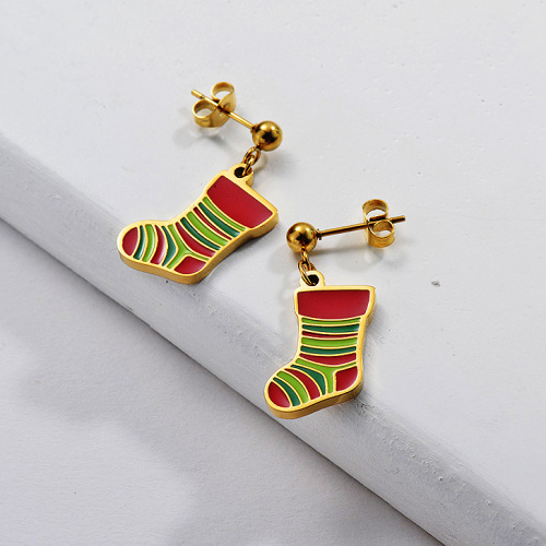 Gold Plating Earrings For Chrismas Gift Chrismas Sock Cute Style
