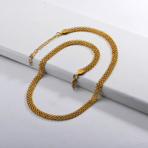 Ladies 45CM Gold Plating Belt Chain Necklace