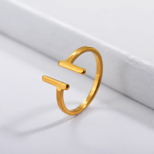 Stainless Steel Famous Brand  Gold Plated Simple Couple Ring