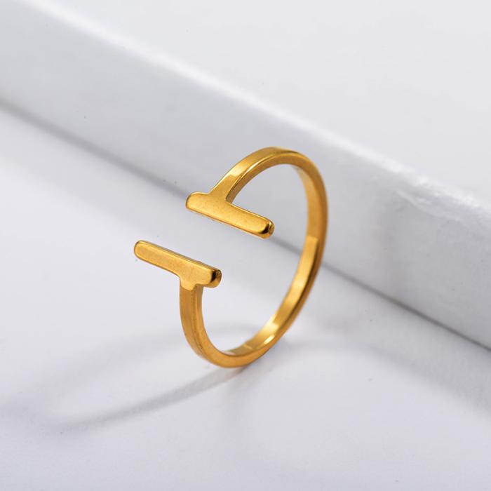 Bague de couple simple plaquée or de marque célèbre en acier inoxydable
