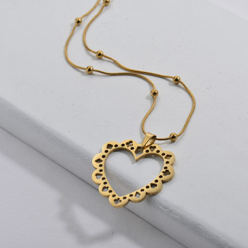 316L Stainless Steel Gold Hollow Heart With Pattern Pendant Beads Chain Necklace For Women