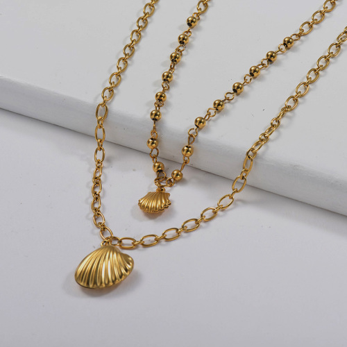 14K Gold Metal Shell Charm With Beaded Oval Link Chain Layered Necklace