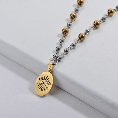 Gold Hollow Evil Eye Round Pendant Double Color Beads Necklace For Women