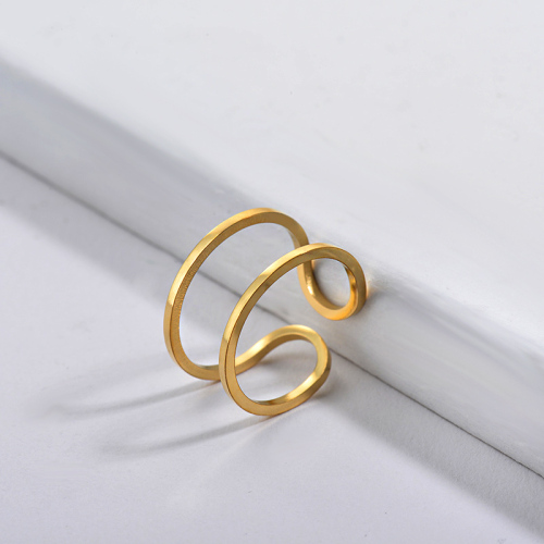 Wholesale Stainless Steel Famous Brand Gold Simple Geometry Bridal Ring