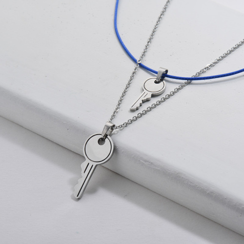 Silver Stainless Steel Key Pendant Layer Necklace Blue Rope Jewelry