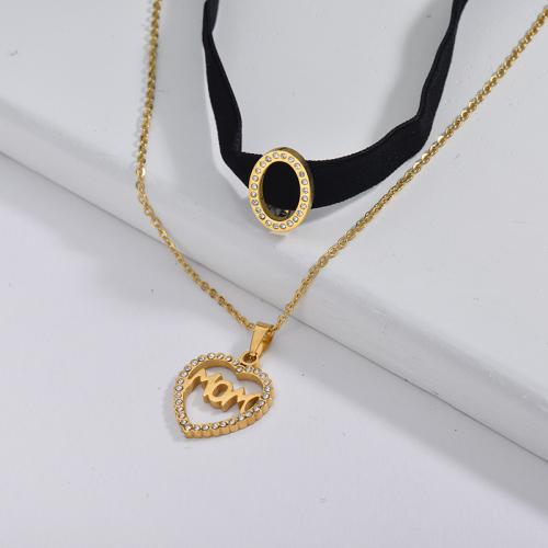 Collar de gargantilla de cadena de capa de franela negra con encanto de lujo, joyería para el día de la madre