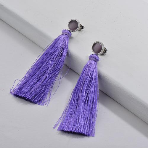 Stainless Steel Tassel Earring Violet Tassel with Violet Opal