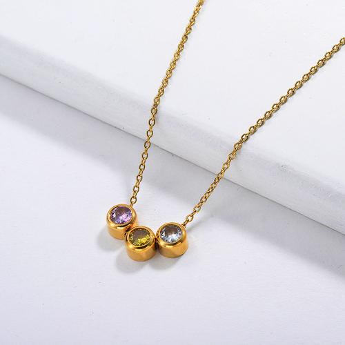 Collar de acero inoxidable dorado con encanto de circón colorido de moda para mujer