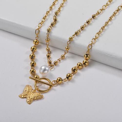 سحر الفراشة الذهبية الأنيقة مع قلادة من طبقة سلسلة الارتباط بالخرز
