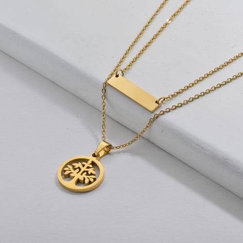Collar de cadenas dobles con encanto de árbol de la vida de acero inoxidable 316L para mujer